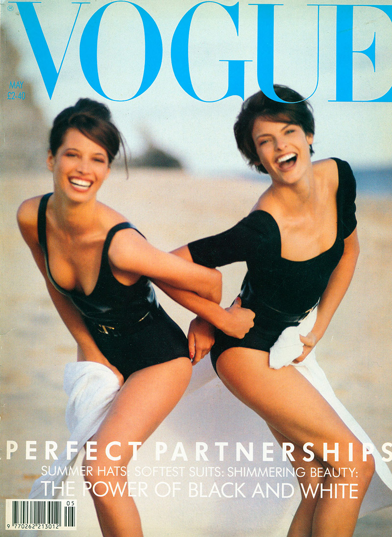 christy turlington vogue uk may 1990 cover linda evangelista TBT | Christy Turlingtons Vogue UK Covers Throughout the Years