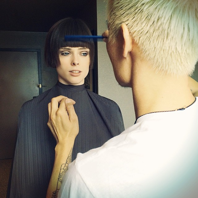 "Image: Coco Rocha shows her bob's finishing touches. ""She bangs!! Getting a new look for spring from Mr. @AnhCoTran. I haven't had bangs since I was about 5."""