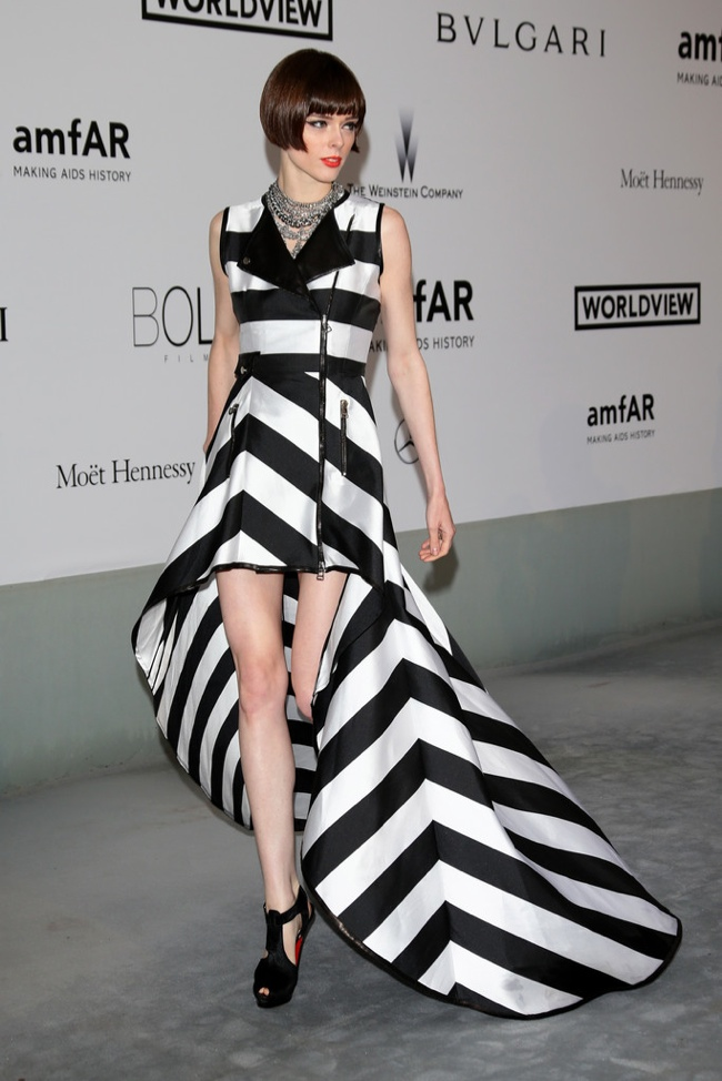 Coco Rocha rocks stripes in IRFE dress