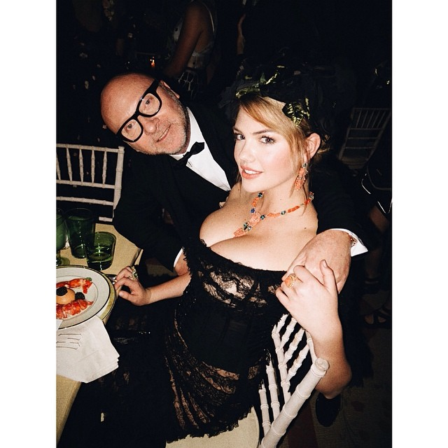 Half of Dolce & Gabbana with Kate Upton. Photo by Mario Testino