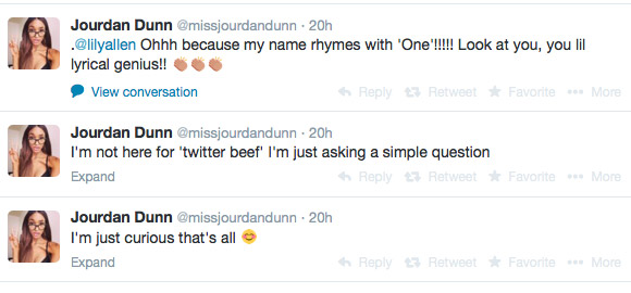 dunn twitter Jourdan Dunn Calls Out Lily Allen for Ugly Kids Song Mention