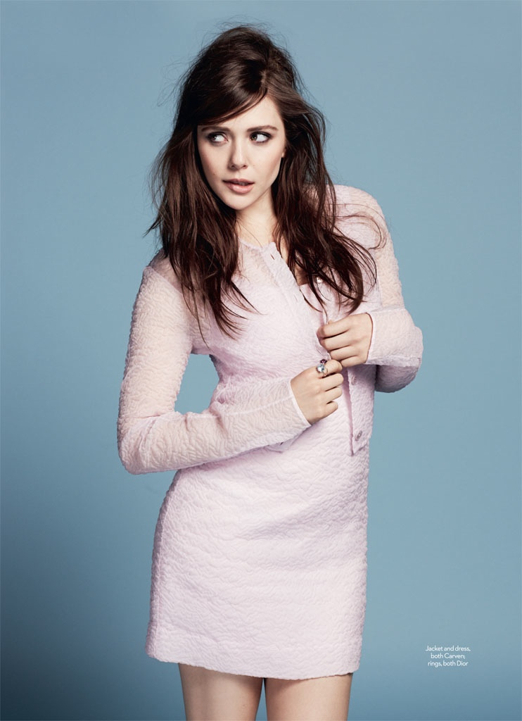 Elizabeth Olsen in Pastel Styles for Marie Claire UK Shoot by David Roemer