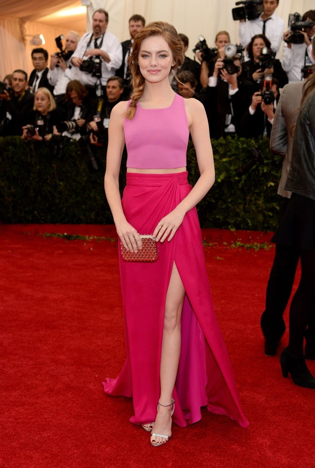 Emma Stone is pretty in pink Thakoon gown