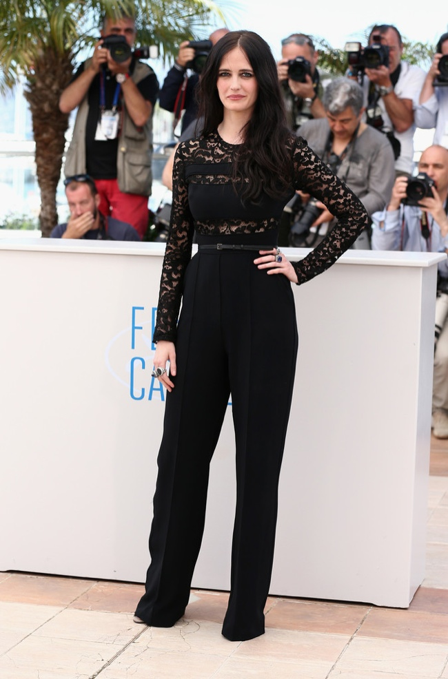 Eva Green wore the pants in a black Elie Saab ensemble