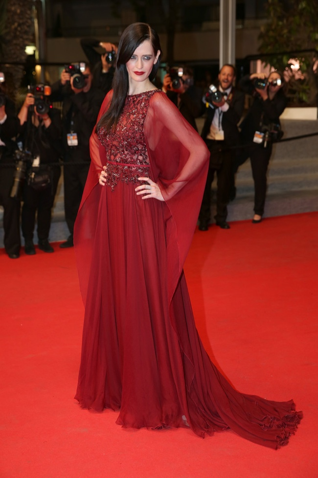 Eva Green slipped into a burgundy colored Elie Saab gown