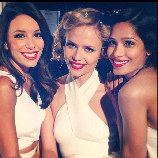 L'Oreal faces Eva Longoria and Freida Pinto with model Natasha Poly