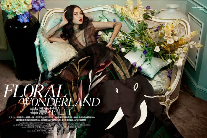 floral couture shoot1 Ling Yue in Floral Couture for Elle Hong Kong by Michèle Bloch Stuckens
