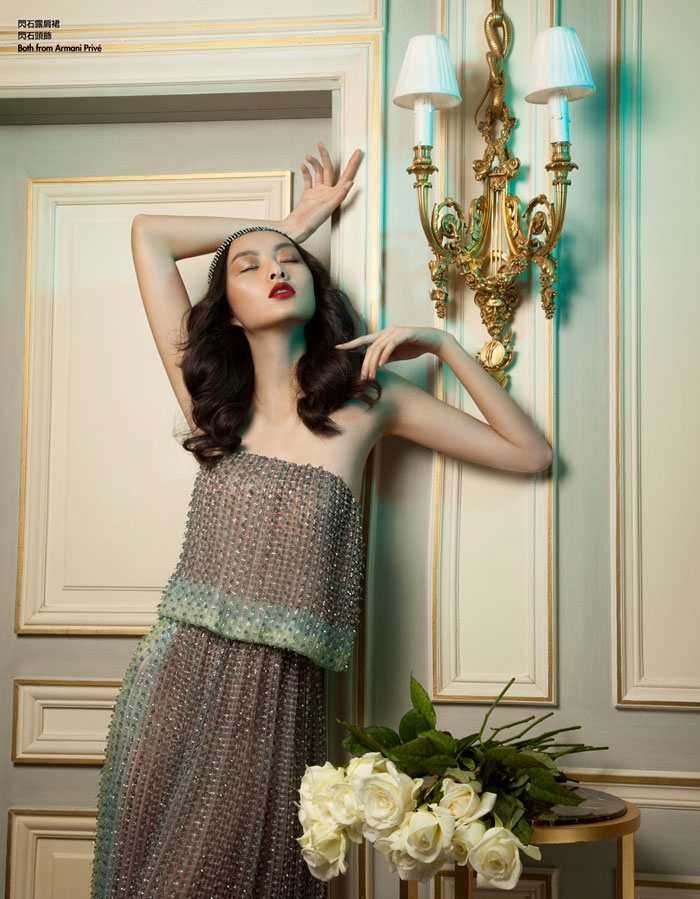 floral couture shoot2 Ling Yue in Floral Couture for Elle Hong Kong by Michèle Bloch Stuckens