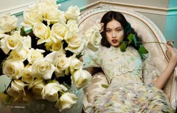 Ling Yue in Floral Couture for Elle Hong Kong by Michèle Bloch-Stuckens