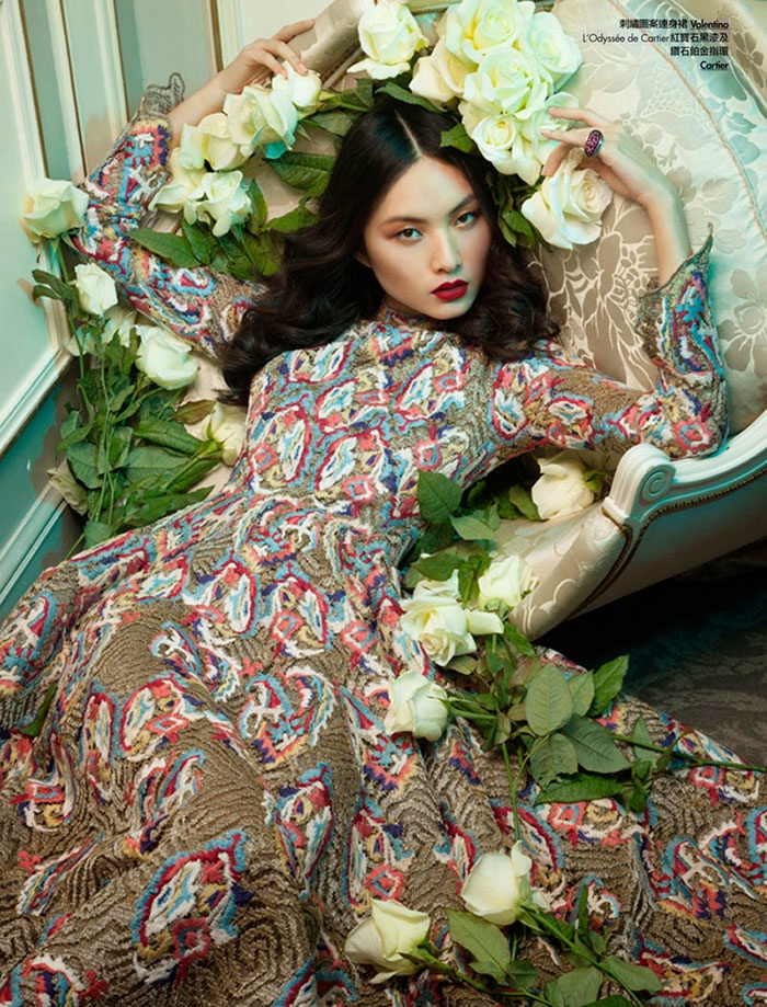 floral couture shoot4 Ling Yue in Floral Couture for Elle Hong Kong by Michèle Bloch Stuckens