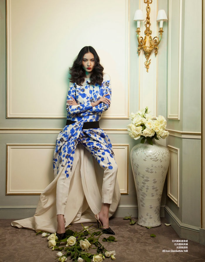 floral couture shoot6 Ling Yue in Floral Couture for Elle Hong Kong by Michèle Bloch Stuckens