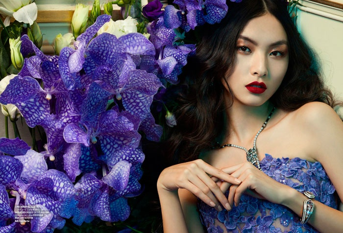 floral couture shoot7 Ling Yue in Floral Couture for Elle Hong Kong by Michèle Bloch Stuckens