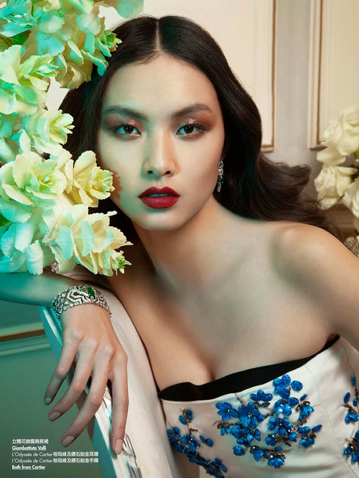 floral couture shoot8 Ling Yue in Floral Couture for Elle Hong Kong by Michèle Bloch Stuckens