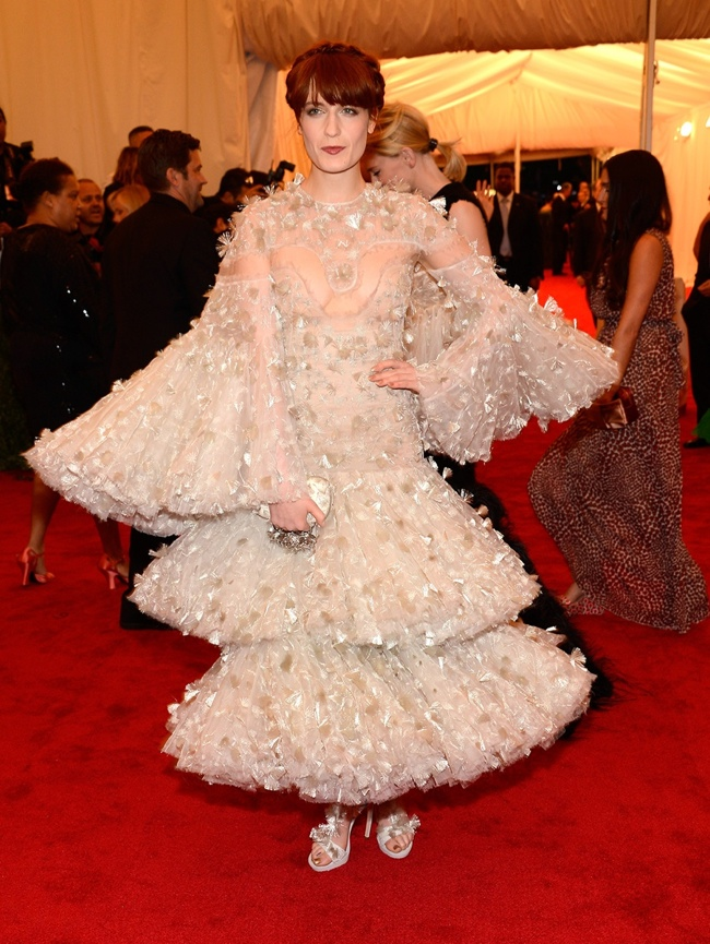 Florence Welch in Alexander McQueen at Met Gala. Image: Vogue/Getty