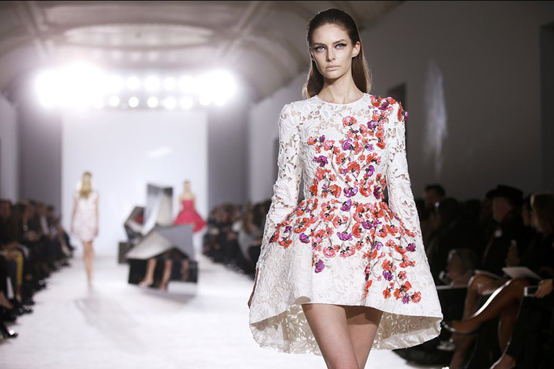 Model at Giambattista Valli S/S 14 Couture. Photo: Designer's Facebook