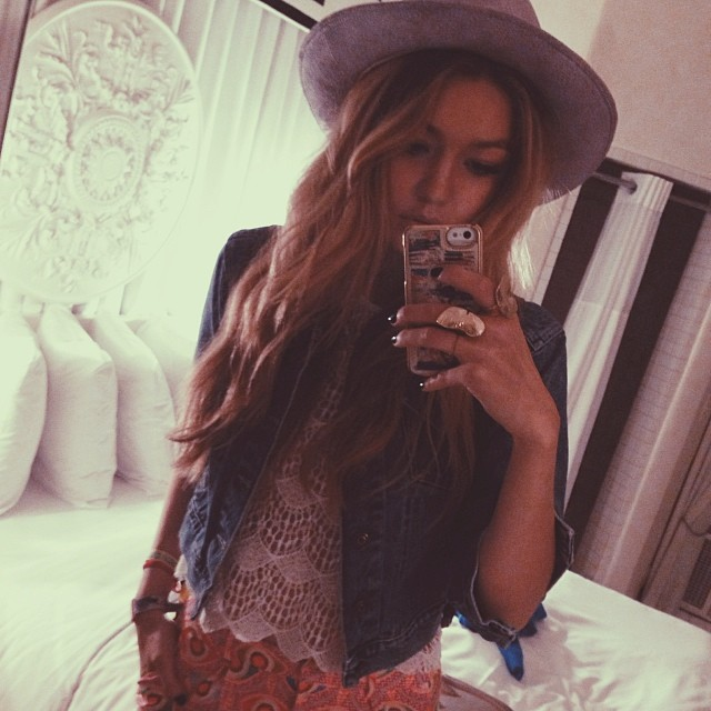 Gigi Hadid takes a stylish selfie
