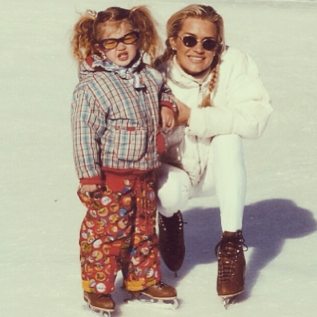 A young Gigi Hadid with her mother Yolanda Foster