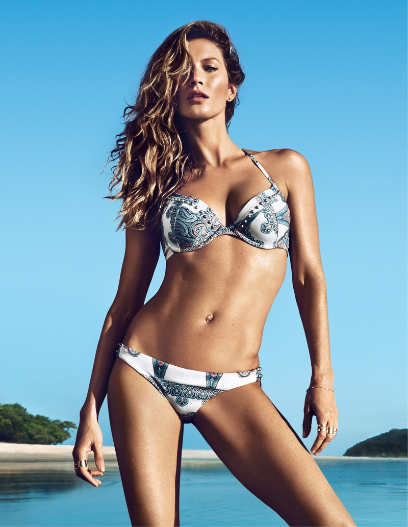 hm summer gisele bundchen swimwear 2014 1 Gisele Bundchen Brings the Heat for H&M Swimwear 14 Ads