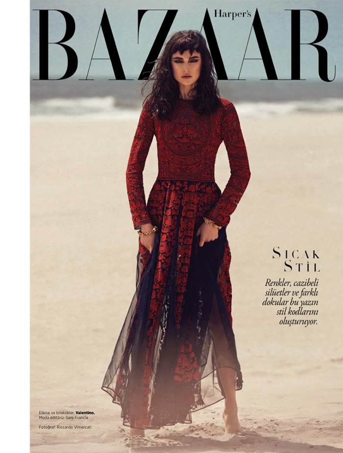jacquelyn jablonski shoot 2014 1 Jacquelyn Jablonski Gets Dark for Harpers Bazaar Turkey Cover Shoot