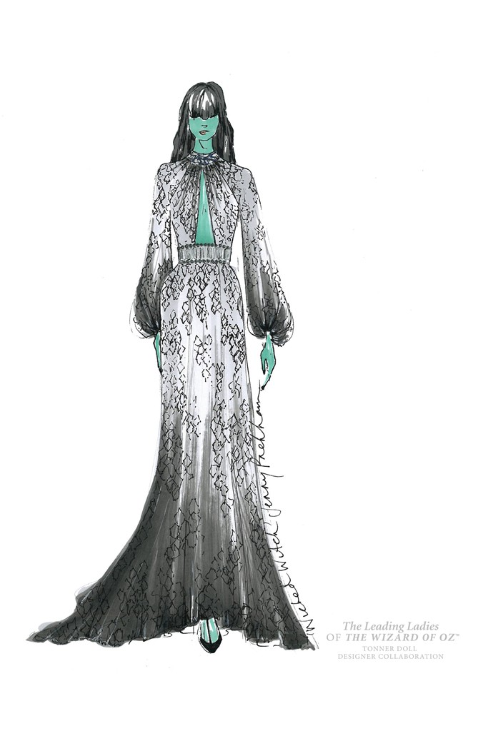 jenny packham wicked witch doll Illustrations of The Wizard of Oz Ladies Reimagined by Top Designers