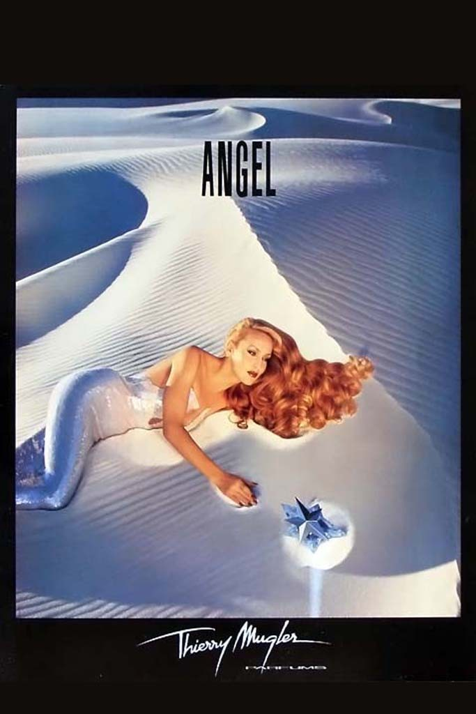Photo: Jerry Hall in Thierry Mugler 1995 Angel ad. Image from WWD