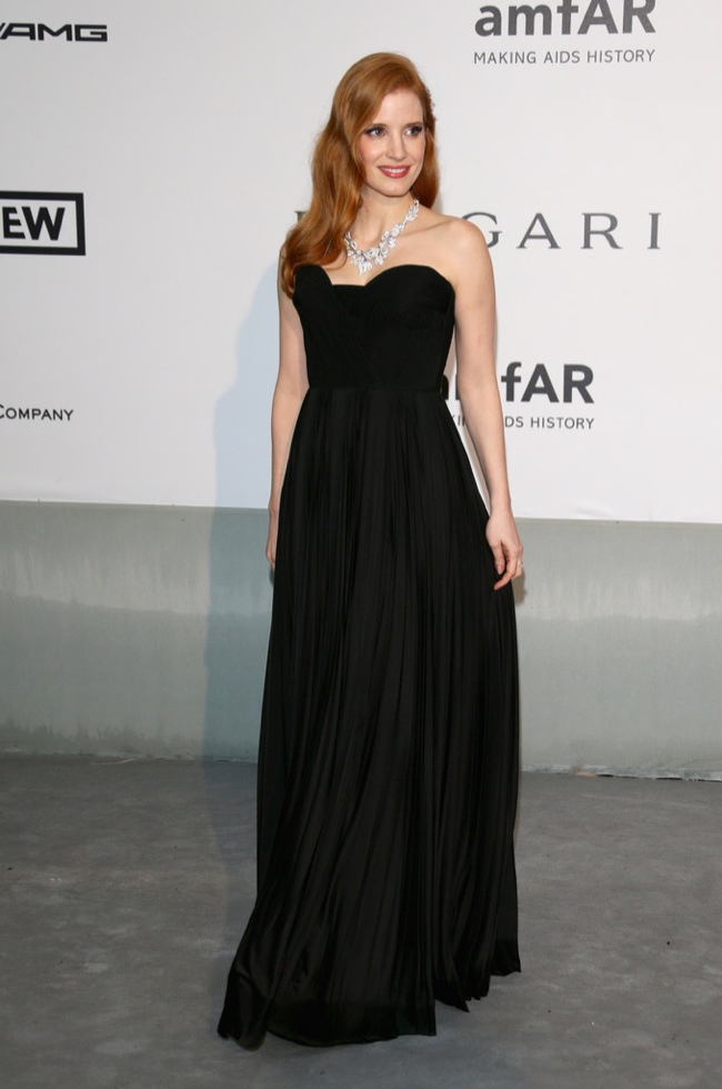 jessica chastain givenchy couture dress 2014 amfAR Gala at Cannes: Jessica Chastain, Alessandra Ambrosio, Dita Von Teese & More