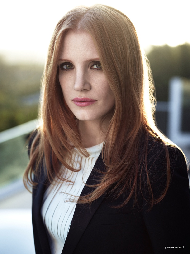 BEFORE: Jessica Chastain poses for YSL ad bangs free