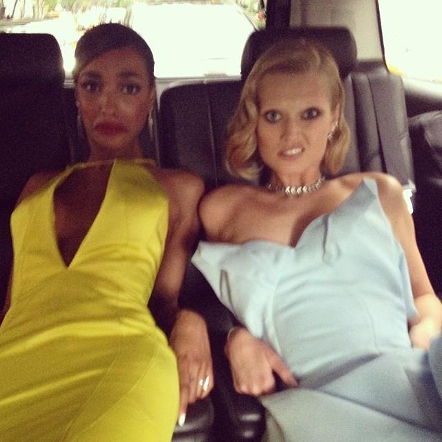 Jourdan Dunn and Toni Garrn find it hard to wear gowns in a car