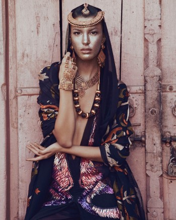 Kate King Models Sari Style for How to Spend It by Andrew Yee