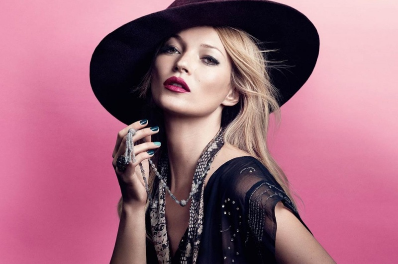 kate rimmel london spring 2014 1 Kate Moss Channels Bohemian Style in Her Spring Rimmel London Ads