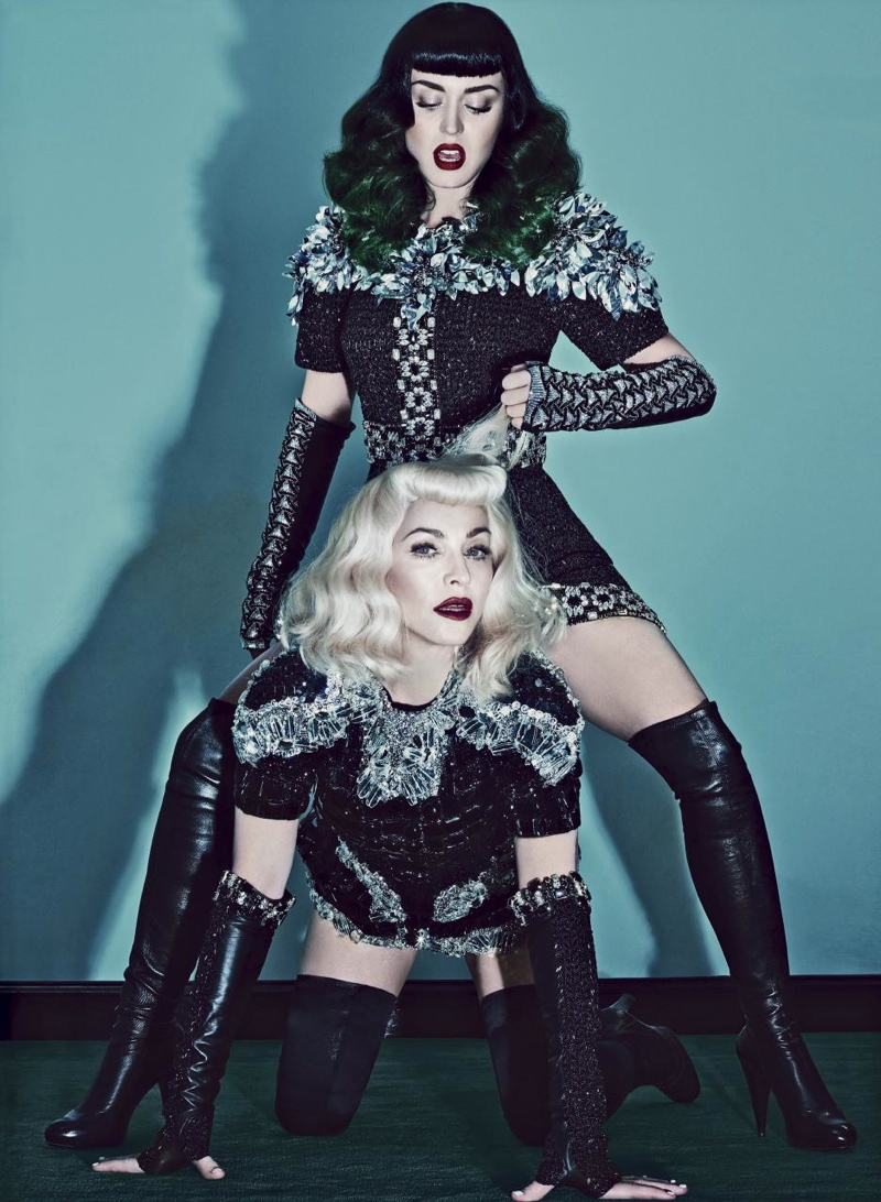 katy perry madonna v magazine1 Madonna & Katy Perry Team Up for Bondage Inspired V Magazine Shoot