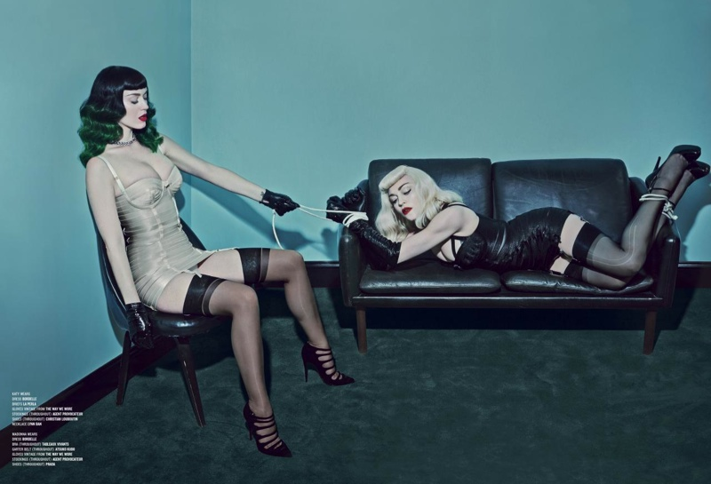 katy perry madonna v magazine2 Madonna & Katy Perry Team Up for Bondage Inspired V Magazine Shoot