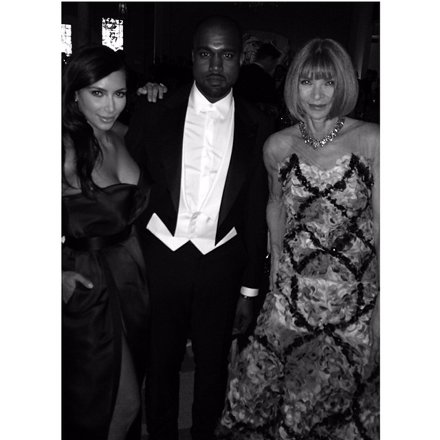 Kim Kardashian, Kanye West and Anna Wintour at the 2014 Met Gala