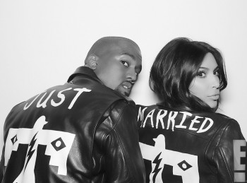 Kim & Kanye Sport Matching 'Just Married' BLK DNM Leather Jackets