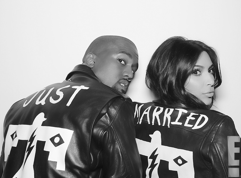 "Kim Kardashian & Kanye West Leather ""Just Married"" Jackets from BLK DNM. Photo: E! Online"
