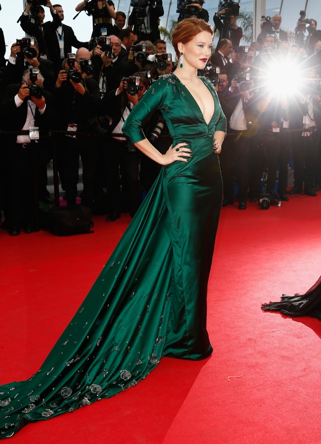 Lea Seydoux donned a custom Prada gown in green