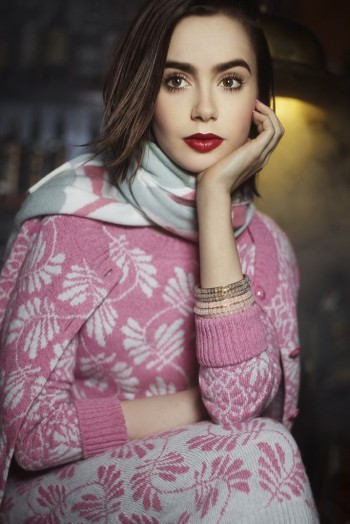 Lily Collins Poses for Karl Lagerfeld in Barrie Knitwear Campaign