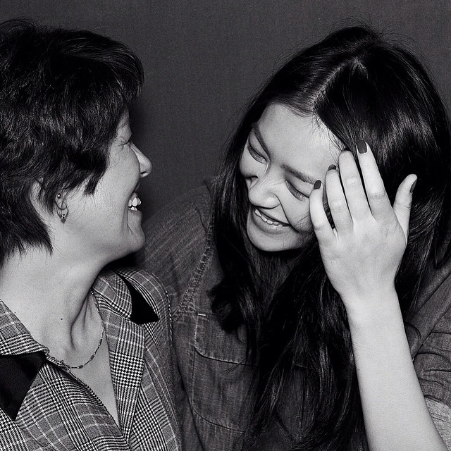 Liu Wen and her mother