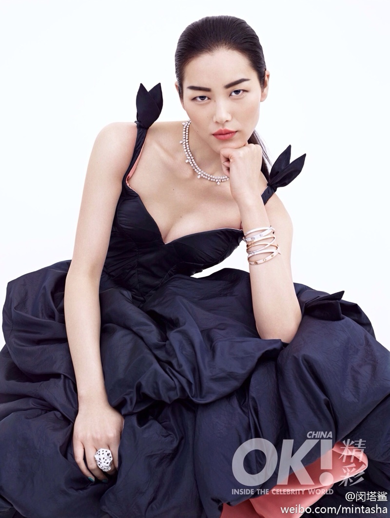liu wen dresses01 Liu Wen Wears Gowns, Diamonds for 2nd Anniversary Shoot of OK! China