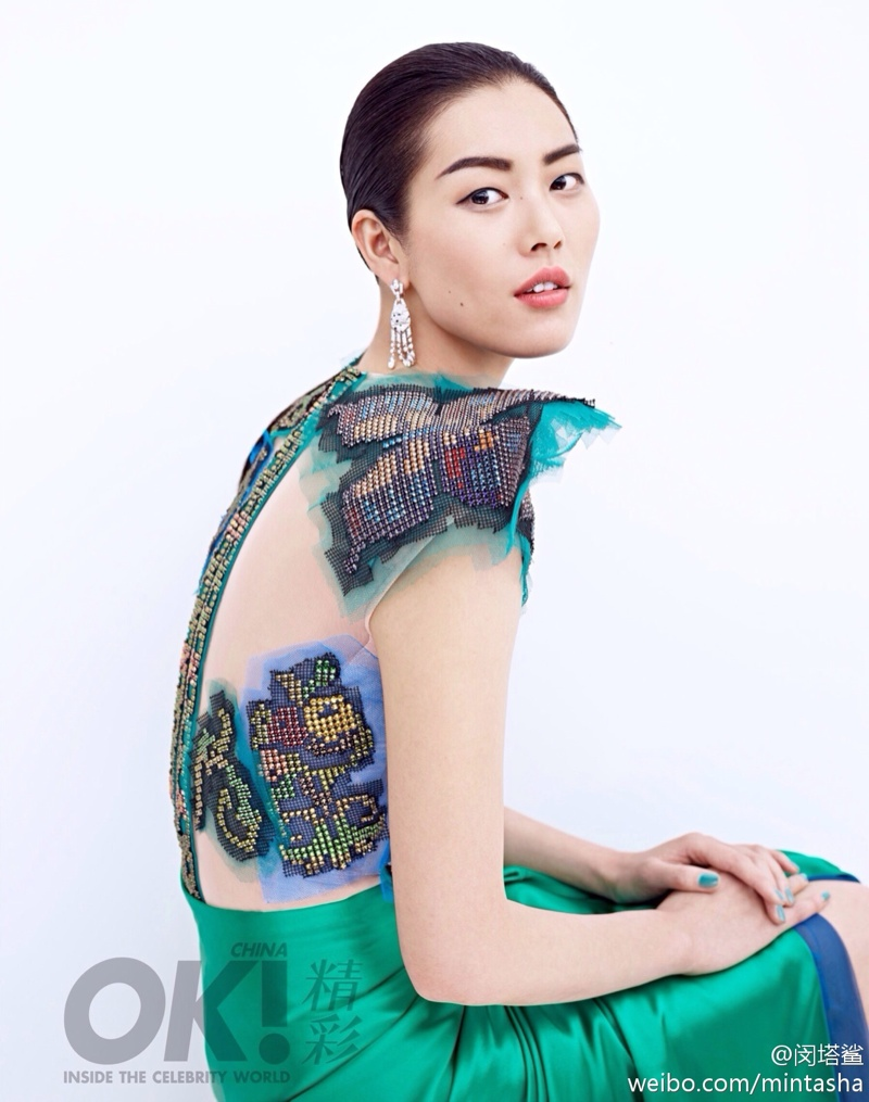 liu wen dresses04 Liu Wen Wears Gowns, Diamonds for 2nd Anniversary Shoot of OK! China
