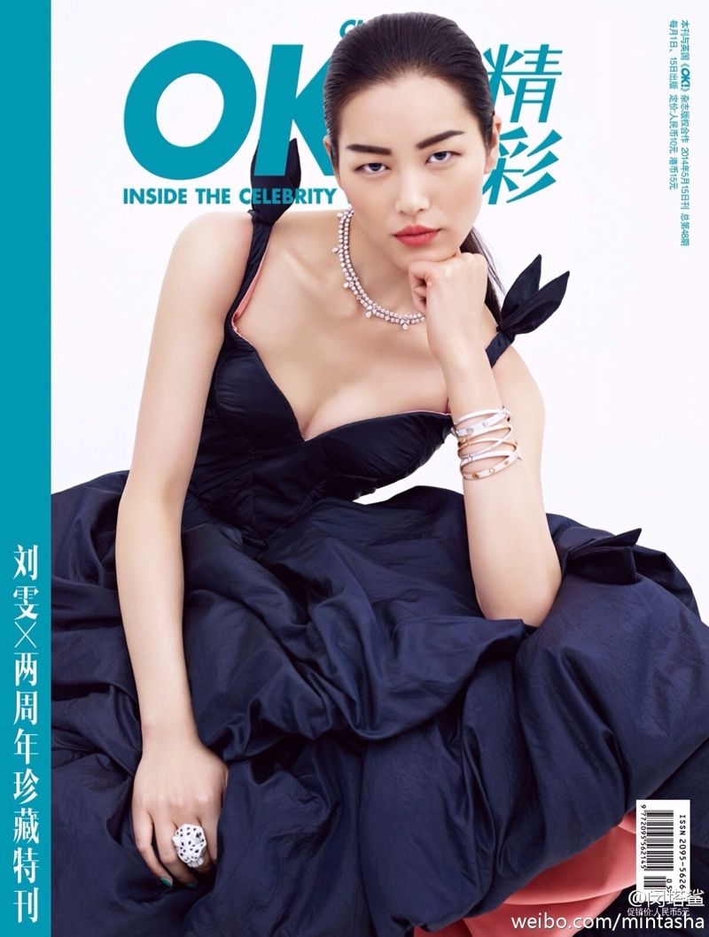 liu wen dresses06 Liu Wen Wears Gowns, Diamonds for 2nd Anniversary Shoot of OK! China