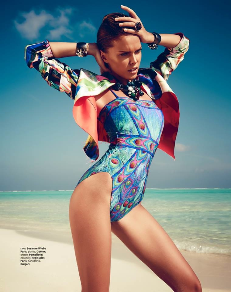 maldives fashion shoot3 Viktoria Halenarova Models Swimwear for Bazaar Czech by Andreas Ortner
