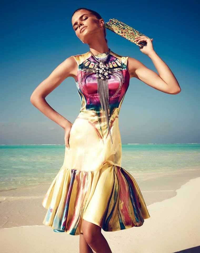 maldives fashion shoot5 Viktoria Halenarova Models Swimwear for Bazaar Czech by Andreas Ortner