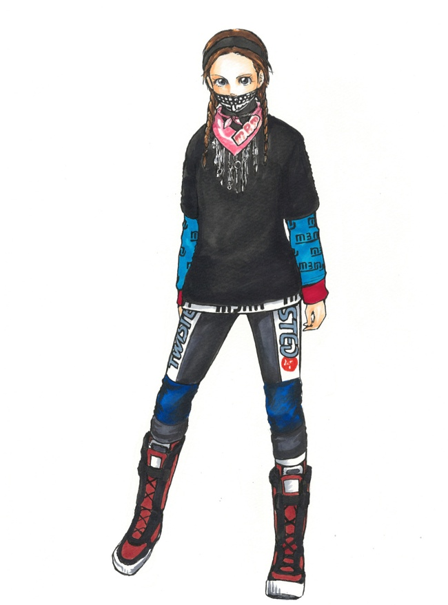 A look from Marc by Marc Jacobs' fall 2014 collection drawn by Mimi. Image: i-D.