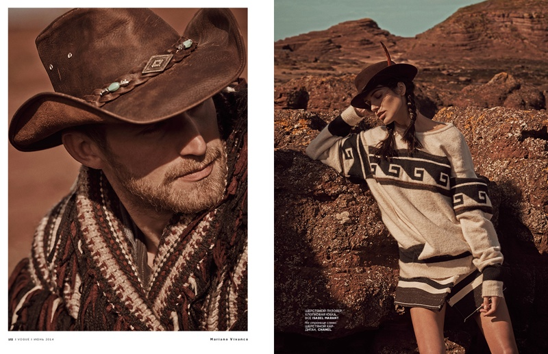 mariano cowgirl story2 Amanda Wellsh is Cowgirl Cool for Mariano Vivanco in Vogue Russia Spread