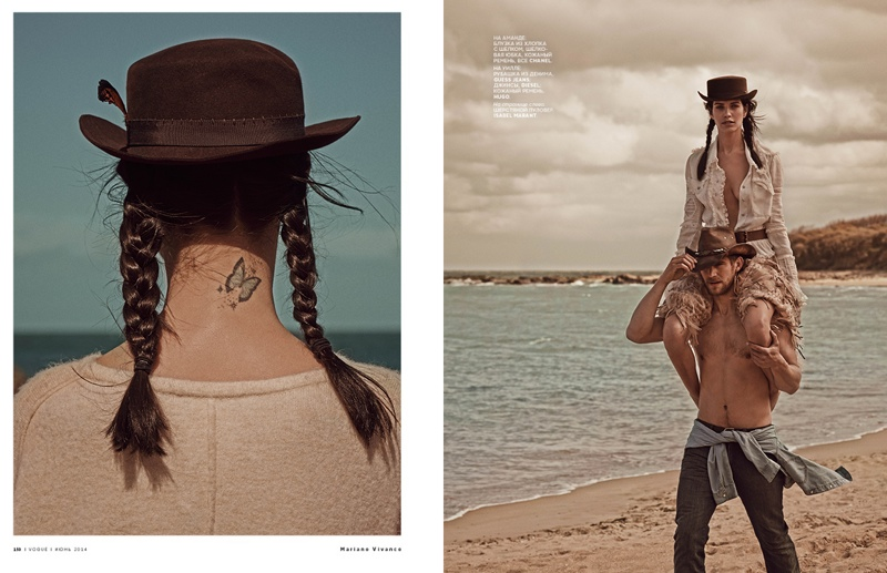 mariano cowgirl story4 Amanda Wellsh is Cowgirl Cool for Mariano Vivanco in Vogue Russia Spread