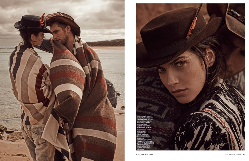 mariano cowgirl story5 Amanda Wellsh is Cowgirl Cool for Mariano Vivanco in Vogue Russia Spread