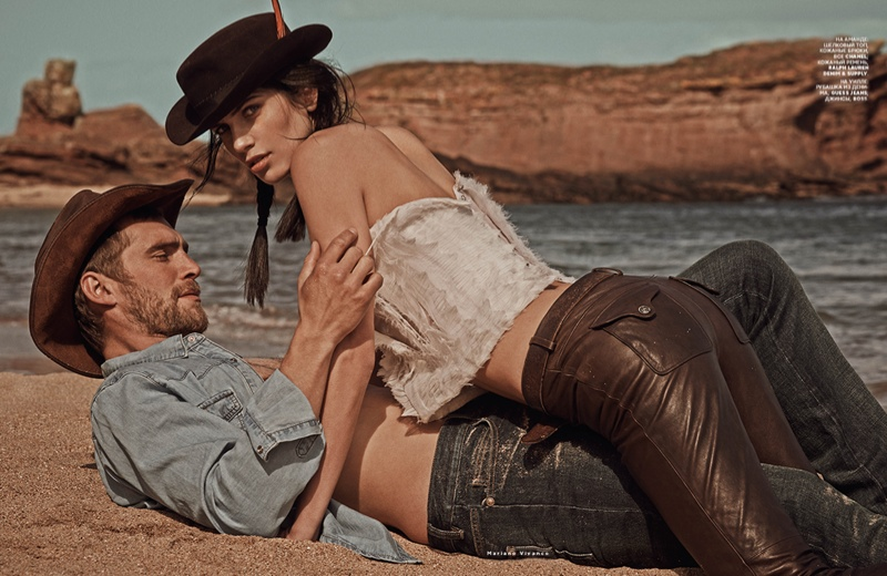 mariano cowgirl story6 Amanda Wellsh is Cowgirl Cool for Mariano Vivanco in Vogue Russia Spread
