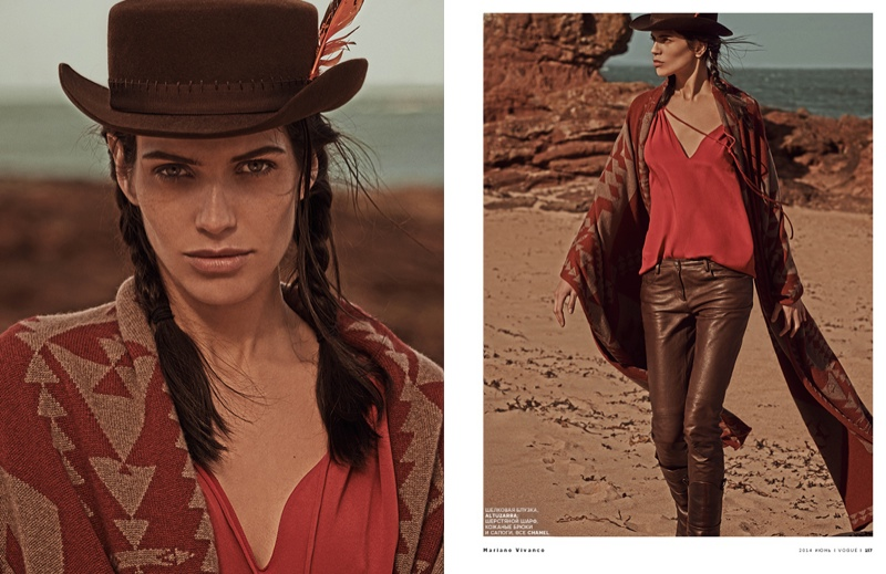 mariano cowgirl story7 Amanda Wellsh is Cowgirl Cool for Mariano Vivanco in Vogue Russia Spread