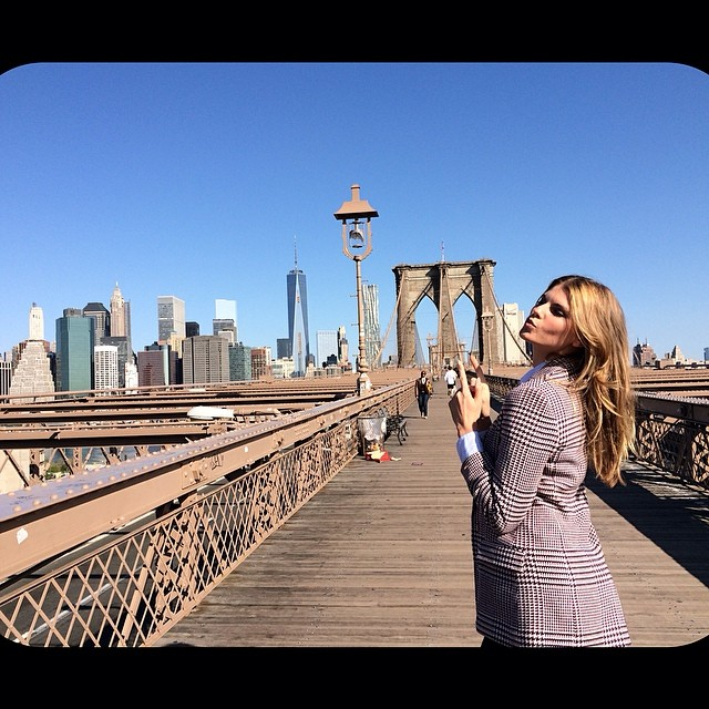 Maryna Linchuk on the Brooklyn Bridge